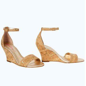 Lilly Pulitzer Bridgette Gold Wedge Sandals 7.5M